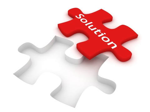 Solution puzzle piece, ready to be laid in